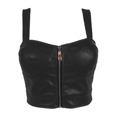 Faux Leather Zip Front Padded Cups Bustier Bralet PU Party Crop Top... ($22) ❤ liked on Polyvore featuring tops, shirts, crop top, night out tops, faux leather shirt, bustier crop top and party crop top
