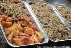 Easy Freezer Meals – Peach Crisp- wonder what the cook time is if it is not frozen? Freezer Friendly Meals, Make Ahead Freezer Meals, Freezer Cooking, Cooking Recipes, Cooking Tips, Freezable Meals, Batch Cooking, Freezer Desserts, Freezer Recipes