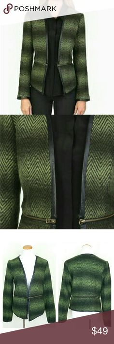 Wool Blend Jacket w/ zipper & Leather Details Wool Blend Jacket w/ zipper & Leather Details. Lambskin lined around hems and cuffs. Zipper derail at waist, can wear cropped w/ bottom part unzipped. EUC.   No Trade or PP  Bundle discounts  Offers Considered Evette & K Jackets & Coats