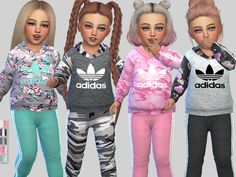 Created By Pinkzombiecupcakes Adidas Sporty Toddler Outfit Collection Created for: The Sims 4 -Available in 5 designs -Unisex -Custom CAS thumbnail included -In CAS find it at. Toddler Cc Sims 4, Sims 4 Toddler Clothes, Sims 4 Mods Clothes, Sims 4 Cc Kids Clothing, Toddler Outfits, Sims 4 Outfits, Boy Clothing, Toddler Fashion, Toddler Girl