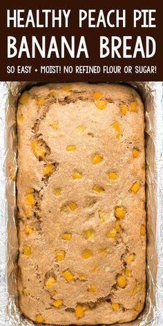 Healthy Peach Pie Banana Bread recipe – SO easy, moist & good! Great for quick breakfasts & snacks! ♡ easy greek yogurt peach banana bread. clean eating low calorie peach banana bread. peach breakfast recipe with fresh or canned peaches. Can Peaches Recipes, Peach Cake Recipes, Fresh Peach Recipes, Jam Recipes, Banana Bread Recipes, Fruit Recipes, Pork Recipes, Sweet Recipes, Healthy Fruit Cake