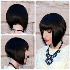 Cute, Easy Short Stacked Bob Haircuts for Blunt Bangs