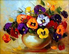 Ewa Bartosik - Arte en Flores - Óleo con Espátula .