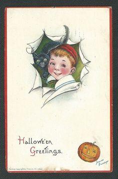 1910 Halloween Postcard Signed Frances Brundage
