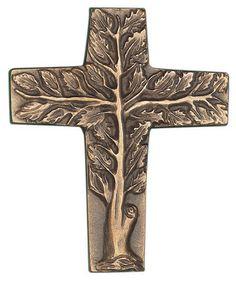 Kommunion Kreuz - Lebensbaum Bronze