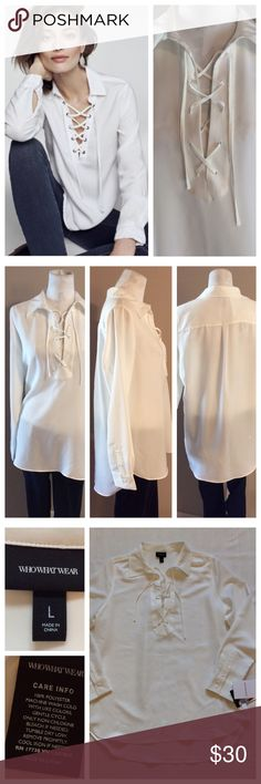"Lace Up Top Lightweight tunic-style top has Lace-up neckline and long sleeves. Silk like poly. Size L, 23"" chest. Hi/lol hem at 28"" and 31"". Excellent NWOT condition Tops"