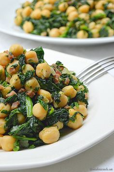 Cinnamon-flavored: Sautéed chickpeas with spinach and ham Mexican Food Recipes, Real Food Recipes, Diet Recipes, Vegetarian Recipes, Cooking Recipes, Healthy Recipes, Lunches And Dinners, Meals, Healthy Snacks