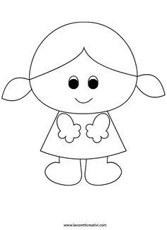 Děvčátko Easy Disney Drawings, Art Drawings For Kids, Drawing For Kids, Easy Drawings, Art For Kids, Sewing Patterns For Kids, Felt Patterns, Applique Patterns, Easy Coloring Pages