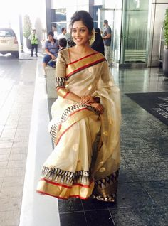 Nyla Usha in kerala saree Onam Saree, Kasavu Saree, Indian Sarees, Silk Sarees, Kerala Saree Blouse, Sari Blouse, Indian Dresses, Indian Outfits, Indian Clothes