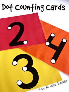 Dot Counting Cards - Stay At Home Educator Preschool Learning, Kindergarten Math, Teaching Math, Preschool Activities, Counting Activities, Cognitive Activities, Teaching Reading, Teaching Numbers, Numbers Preschool
