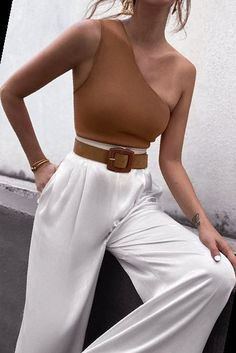 Minimalist Wardrobe, One Shoulder Tops, Tans, High Waisted Skirt, Clothes For Women, Women's Clothes, Womens Fashion, Casual, Skirts