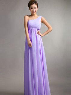 A-Line One Shoulder Floor Length Draped Lilac Bridesmaid Dresses