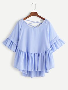 Striped Criss Cross Frill Hem High Low Blouse Mobile Site