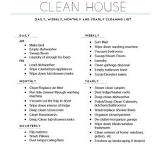Home cleaning schedule.