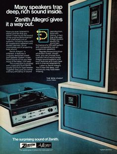 The Zenith Allegro stereo system, 1974.