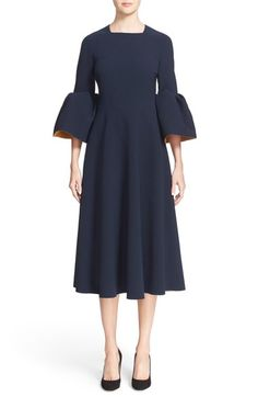 Roksanda 'Turlin' Flounce Sleeve Midi Dress available at #Nordstrom