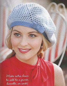 Blue Hat with Bow free crochet graph pattern