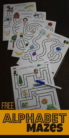 Free Alphabet Mazes Free Alphabet Mazes Are Such A Fun Way For Preschool Prek Kindergarten And First Grade To Practice Their Letters Through A Fun Abc Games Preschool Literacy, Preschool Letters, Preschool Printables, Learning Letters, Preschool Worksheets, Literacy Activities, Kids Learning, Learning Spanish, Teaching Resources