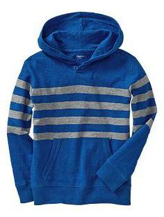 Button stripe slub hoodie | Gap