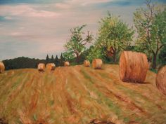 Artwork >> Mazouz Patrice >> Hérimoncourt (Doubs) harvest (straw bales) oil / linen #artwork, #field, #oil, #painting