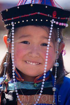 Mongolian girl in traditional dress, Mongolia
