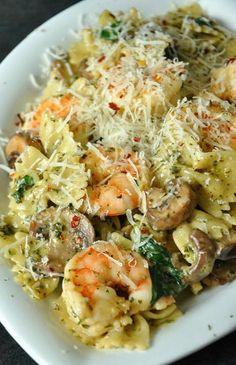 Creamy Shrimp and Veggie Pesto Pasta.