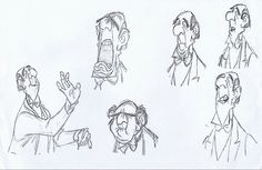 Disney Concept Art - Edgar the Butler Character Sketches, Character Design Animation, Character Concept, Character Art, Character Sheet, Animation Reference, Art Reference, Principles Of Animation, Expression Sheet