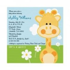 Giraffe baby shower invitations and party supplies for a boy or girl giraffe themed baby shower. Customize invitations, postage and stickers for...
