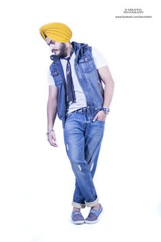 sikh fashion, indoor shoot, jeans , turban , yellow , blue black tie