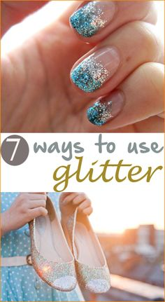 7 Top Glitter Projects.  Fun ways to add glitter to your appearance, attire or home.  Get crafty with these great glitter ideas.