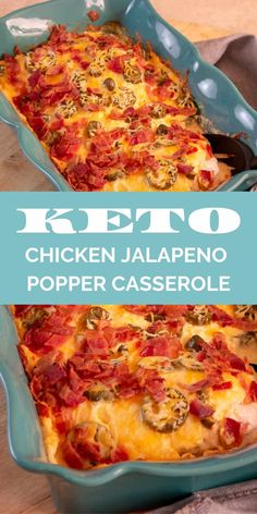 This Keto Chicken Jalapeno Popper Casserole Recipe is crazy easy to make and the whole family will enjoy it! They won't even know it's a keto dinner recipe! dinner for family Keto Chicken Jalapeno Popper Casserole Recipe Ketogenic Recipes, Low Carb Recipes, Diet Recipes, Cooking Recipes, Healthy Recipes, Ketogenic Diet, Chicken Recipes, Slimfast Recipes, Vegetarian Recipes