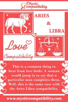 This is a common thing to hear from love birds. A woman would jump in to say that a particular man completes them. Well, this is the same case with the Aries Libra compatibility. #Aries #Libra #Relationship #Compatibility #Aries_Libra #Relationship_Compatibility #AriesLibra #RelationshipCompatibility #Zodiac_Signs Aries And Libra, Aries Man Libra Woman, Libra Women, Libra Compatibility, Relationship Compatibility, Libra Relationships, Most Compatible Zodiac Signs, All Zodiac Signs, Birds