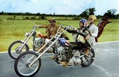Easy Rider. Harper rode a former police bike built for the film which was originally a Harley-Davidson Hydra Glide with panhead engines . Fondas bike was the Stars-and-Stripes painted ape-hanger...
