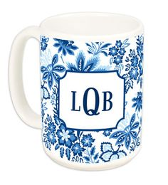 15 oz Classic Blue Floral Ceramic Mugs