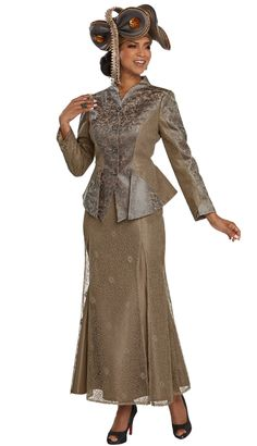 Donna Vinci Couture 5657 Jacket/Skirt Suit Exclusive Novelty Fabric Trimmed With Rhinestone Buttons Jacket Length: Skirt Length: Church Suits And Hats, Women Church Suits, Suits For Women, Ladies Suits, Church Attire, African Print Fashion, African Fashion Dresses, Sunday Dress, Womens Dress Suits