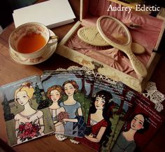 Jane Austen post cards of Lizzie Bennet, Anne Elliot, the Dashwood sisters, and Emma!