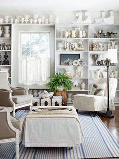 See our favorite white living rooms and browse through our favorite white living room pictures, including white living room designs, white decor and more. There's something for every style here! Living Room White, White Rooms, My Living Room, Living Room Decor, Living Spaces, Small Living, Modern Living, Interior Exterior, Interior Design