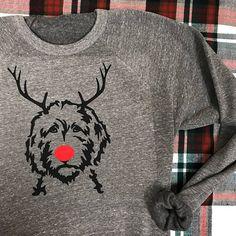 Reindeer Doodle Gray Fleece Crewneck Sweatshirt / Great
