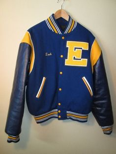 Vintage Letterman jacket, blue & yellow, Eisenhauer Knights, wool/leather, Large in Clothing, Shoes & Accessories, Vintage, Men's Vintage Clothing | eBay