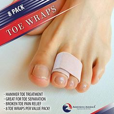 Amazon.com: Broken Toe Wraps Toe Tape - Toe Bandages to Align and Straighten Toes. Idea Toe Splint for Bent or Crooked Hammer Toes, Fractures or Injuries. Doubles as Toe Separator & Toe Straightener: Health & Personal Care Broken Toe, Hammer Toe, Heel Pain, Pain Relief, Straightener, Tape, Personal Care, Amazon, Health