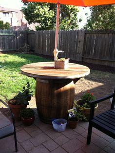 My wine barrel table