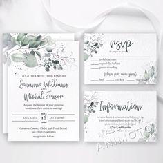 Garden Wedding Invitations, Wedding Invitation Suite, Wedding Invitation Templates, Invitation Design, Wedding Stationery, Back Garden Wedding, Green Wedding, Diy Wedding, Rustic Wedding