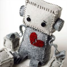 Sad Robot Plush with a Broken Heart Anti Valentine's by GinnyPenny