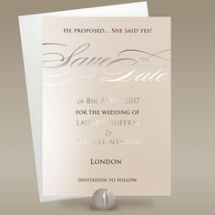 Blush Pink Save the Date Cards with Silver Foil Script by Polina Perri