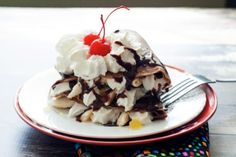 This chocolate crepe recipe is the perfect backdrop for the ultimate dessert crepe. They are full-flavored with chocolate and just slightly sweet making the whipped cream, hot fudge and fresh bananas really shine. Impress your next dinner guests with a unique and delicious way to end your meal.  more