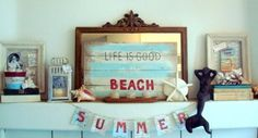 Decoration, Terrific Beach Summer Mantel Decor Ideas Living Room Furniture For Small Spaces With Light Blue Color Nad Sea Shell And Clam: 42 Gorgeous Summer DIY Fireplace Mantel Decorating Ideas With Bright Color Interior