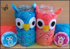 Churras y Merinas Manualidades: Bote Búho de crochet