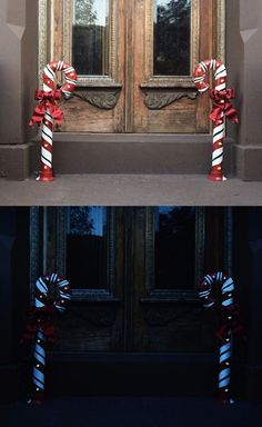 PVC Lit Candy Canes.  These are great for a front doorway if you are wanting more than just a wreath to deck your door this holiday season. These lit PVC pipe candy canes are easy to make and will last for years to come! All it takes is some paint and PVC parts and a good strand of lights to create these fun and festive pieces.