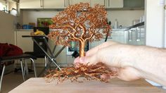 Making a Detailed Wire tree, Time Lapse Wire Crafts, Metal Crafts, Wire Wrapped Jewelry, Wire Jewelry, Wire Earrings, Beaded Jewelry, Handmade Jewelry, Copper Wire Art, Bonsai Wire