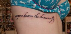This is my second tattoo, it's a lyrics from the song 'Defying Gravity' from the musical 'Wicked'. I'm a huge fan of musical theatre and this lyric means a lot to me.    I got it done at RedInc, Luton by Sam Wilson.